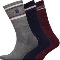 Ben Sherman Mens Timbera Three Pack Socks Navy/Grey Marl/Tomato Red