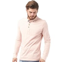 Brave Soul Mens Lincoln Long Sleeve Polo Summer Pink