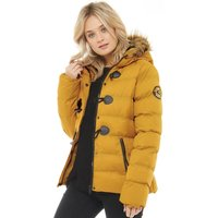 Brave Soul Womens Wizard Fur Trim Toggle Puffer Jacket Mustard