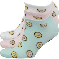 Brave Soul Womens Donut Print Three Pack Trainer Socks White/Pink/Turquoise