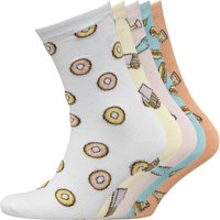 Brave Soul Womens Fries Print Five Pack Socks Multi
