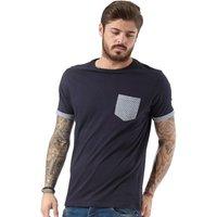 Brave Soul Mens Pyram Patterned T-Shirt Navy/Optic White