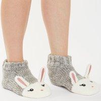 Brave Soul Womens Clare Bunny Slipper Socks Grey