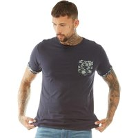 Brave Soul Mens Jarvis Camo Pocket T-Shirt Navy