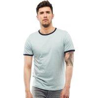 Brave Soul Mens Tallon Crew Neck Contrast T-Shirt Dusty Green/Ocean