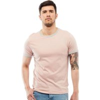 Brave Soul Mens Tallon Crew Neck Contrast T-Shirt Dusty Pink/Light Grey