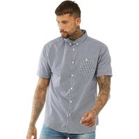Brave Soul Mens Clement Gingham Shirt Navy/White