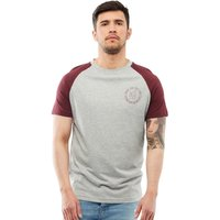 Brave Soul Mens Everest Raglan T-Shirt Light Grey/Ruby Wine