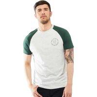 Brave Soul Mens Everest Raglan T-Shirt Ecru/Bottle Green