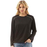 Brave Soul Womens Circle Zip Detail Sweatshirt Black