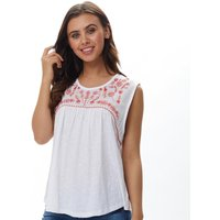 Brave Soul Womens Isabelle Embroidered Top White/Racer Red