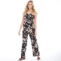 Brave Soul Womens Cecily All Over Print Strappy Jumpsuit Black Floral