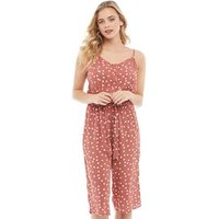 Brave Soul Womens Antonia All Over Print Jumpsuit Ash Pink/White