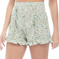 Brave Soul Womens Tropic Floral Print Ruffle Shorts Green Floral