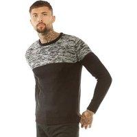 brave-soul-mens-roland-reverse-knit-jumper-black-grey