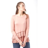 Brave Soul Womens Lina Long Sleeve Top Nude Pink