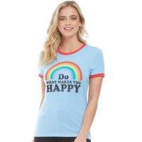 Brave Soul Womens Happy T-Shirt Sky Blue/Retro Red