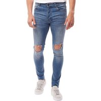 Brave Soul Mens Crofton Skinny Fit Ripped Jeans Light Blue