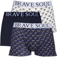 Brave Soul Mens Three Pack Boxers Navy/white/navy