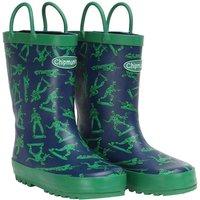 Chipmunks Boys Toy Soldier Print Wellington Boots Blue/Green