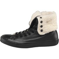Converse Womens CT All Star Knee X-Hi Roll Down Leather Fur Trainers Black/Natural