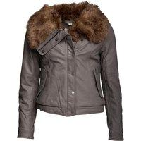 Converse Womens Tully Asymmetric Sherpa Collar Biker Jacket Charcoal Grey