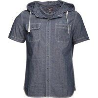 Converse Mens Rashaad Pocket Hooded Short Sleeve Shirt Indigo Blue