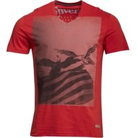 Converse Mens Flag Eagle Graphic V-Neck T-Shirt Barn Red