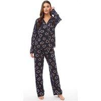 Chelsea Peers Womens Xmas Print Pyjama Set Navy