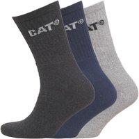 Caterpillar Mens Three Pack Crew Socks Navy/Light Grey Marl/Charcoal Marl