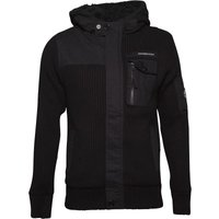 Crosshatch Mens Jamine Chunky Knit Hoody Black