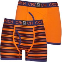 Crosshatch Mens Deckster Two Pack Boxers Red Orange/Blue Sombre