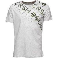 Crosshatch Mens Camo Cru T-Shirt Light Grey