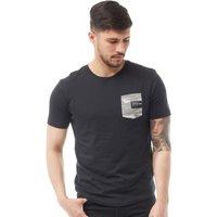 Crosshatch Mens Seedly Camo Print Pocket T-Shirt Black
