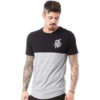 DFND London Mens Bank Cut And Sew T-Shirt Grey Marl/Black