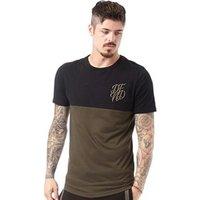 DFND London Mens Bank Cut And Sew T-Shirt Black/Khaki