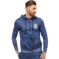 DFND London Mens Camo Print Zip Through Hoody Navy