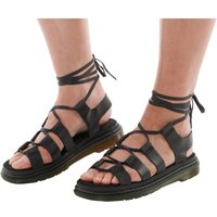 Dr Martens Womens Kristina Chunky Sandals Black Polished Oily Illusion