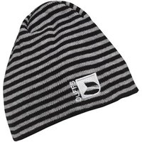 DuFFS Junior Striped Beanie Hat Black/Grey Marl