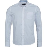 Duck and Cover Mens Emblem Long Sleeve Oxford Shirt White