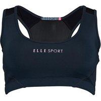 ELLE SPORT Womens Panelled Performance Sports Bra Top Petrol/Soft Pink/Black