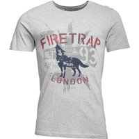 Firetrap Mens Hiran T-Shirt Light Grey Marl