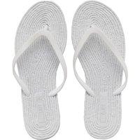 Fluid Womens Glitter Thong Toe Post Sandals White