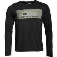 Fluid Mens Long Sleeve Jersey Top With Chest Print Black