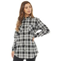 Fluid Womens Checked Flannel Shirt Black/White