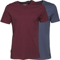 Fluid Mens Two Pack Plain T-Shirt Claret/Indigo