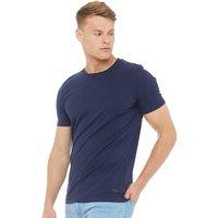 Fluid Mens Plain Crew Neck T-Shirt Navy