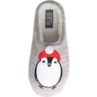 Fluid Womens Penguin Mule Slippers Grey Marl