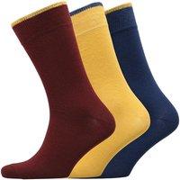 Fluid Mens Three Pack Socks Blue/Yellow/Red