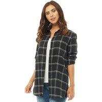Fluid Womens Checked Long Sleeve Shirt Black/White